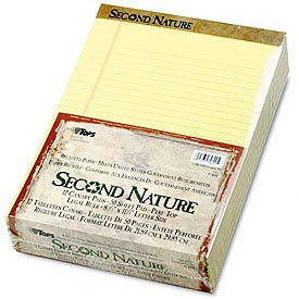 Second Nature® Recycled 8-1/2x14 Pads, Canary, Legal Rule, 50 Sheets/Pad, 12/Pk