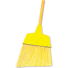 "Angler Broom Flagged Plastic Bristles, 42"" Wood Handle Yellow - BWK932AEA"