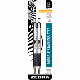 Zebra Retractable Gel Pen G-301 - Black Ink - Stainless Steel Barrel - 2 Pack