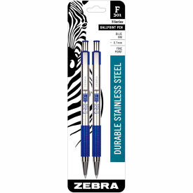 Zebra Retractable Ballpoint Pen F-301 - Blue Ink - 2 Pack