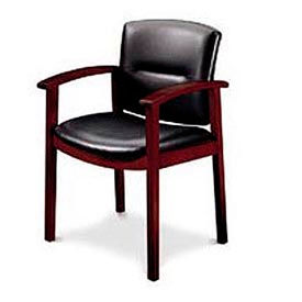 5000 Series Park Avenue Guest Chair, Black Leather/Henna Cherry Finish