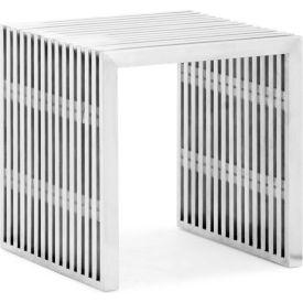 """Zuo Modern Novel Single Bench, 16-1/2""""H, Steel Frame, Stainless Steel"""