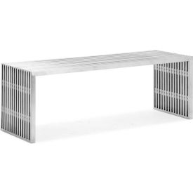 "Zuo Modern Novel Double Bench, 16-1/2""H, Steel Frame, Stainless Steel"