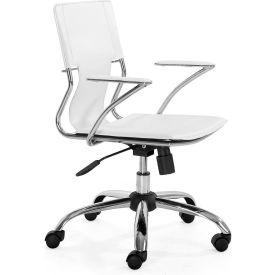 "Zuo Modern Trafico Office Chair, 33-37""H, Chromed Steel Frame, White"