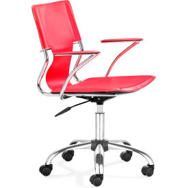 """Zuo Modern Trafico Office Chair, 33-37""""H, Chromed Steel Frame, Red"""