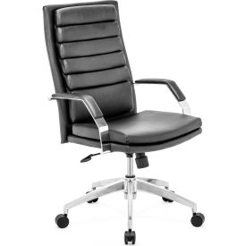 """Zuo Modern Director Comfort Office Chair, 38-40-5/8""""H, Polished Aluminum Frame, Black"""