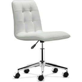 """Zuo Modern Scout Office Chair, 31-1/4-34-13/16""""H, Steel Frame Frame, White"""