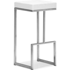 """Zuo Modern Darwen Bar Chair, 30""""H, Steel Frame, White - Pkg Qty 2"""
