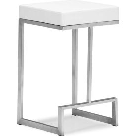 "Zuo Modern Darwen Counter Chair, 24""H, Steel Frame, White - Pkg Qty 2"