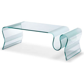 "Zuo Modern Discovery Table, 17""H, Tempered Glass Frame, Clear Glass"