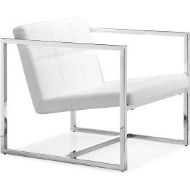 """Zuo Modern Carbon Chair, 26-3/8""""H, Chromed Steel Frame, White"""