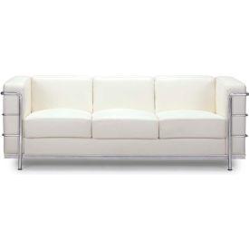 """Zuo Modern Fortress Sofa, 26""""H, Chromed Steel Frame, White"""