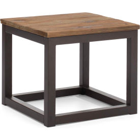 "Zuo Modern Civic Center Table, 17-11/16""H, Metal Top, Fir Wood Frame, Distressed Natural"