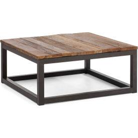 "Zuo Modern Civic Center Table, 14-5/8""H, Metal Top, Fir Wood Frame, Distressed Natural"