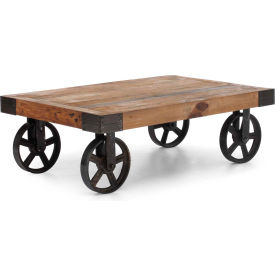 """Zuo Modern Barbary Coast Table, 13-13/16""""H, Metal Top, Fir Wood Frame, Distressed Natural"""