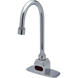 """AquaSense Battery Powered Gooseneck Faucet - with 4"""" Cover Plate and Mixing Tree"""