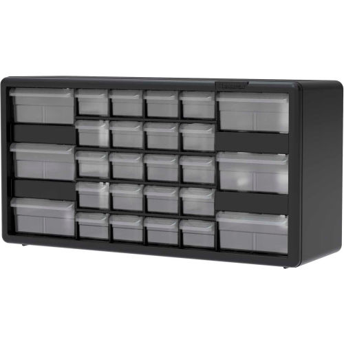 20 W x 6 D x 10 H Akro-Mils 26 Drawer 10126 Black, Plastic Parts Storage Hardware and Craft Cabinet, 20-Inch