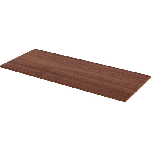 """Lorell Sit-Stand Desk Table Top Straight Edge 72""""W x 30""""D Walnut by"""