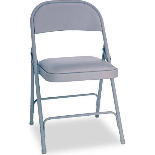 Alera Steel Folding Chair With Padded Seat Light Gray 4/Carton by