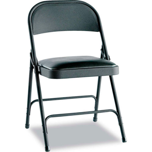 Alera Steel Folding Chair With Padded Seat Black 4/Carton by
