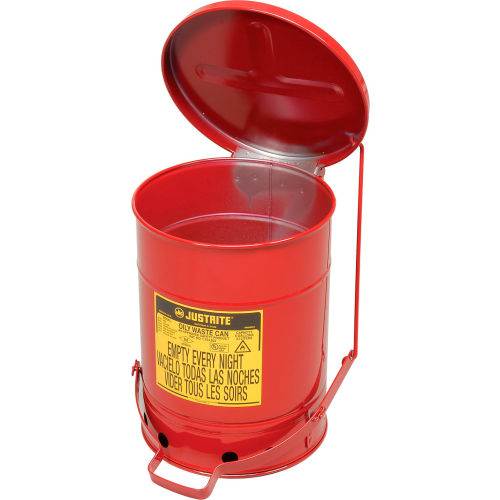 Justrite 09100 Oily Waste Can 6 Gal Steel Red for sale online