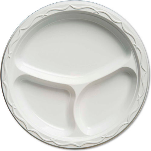 Aristocrat Plastic Plates, 10 1/4 Inches, White, Round, 3 Compartments, 500 Ct by