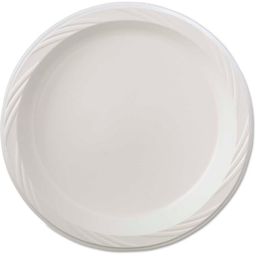 """Chinet Plastic Plates, 9"""", White, Round, Lightweight by"""