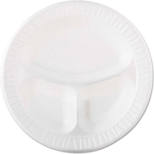 "Dart 10CPWQR Foam Plastic Plates, 3-Comp, 10 1/4"", White by"