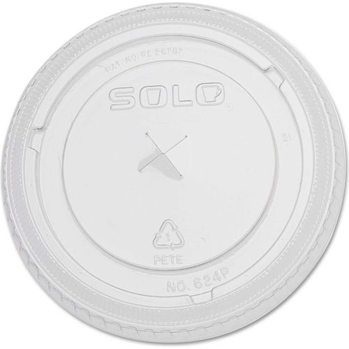 SOLO PETE Plastic Flat Straw-Slot Cold Cup Lids, For 20 oz Cups, 1000/Carton by