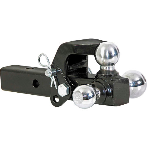Gekers Solid Shank Trailer Hitch Receiver Triple Ball Hitch Mount with Hook Solid Tube Hook