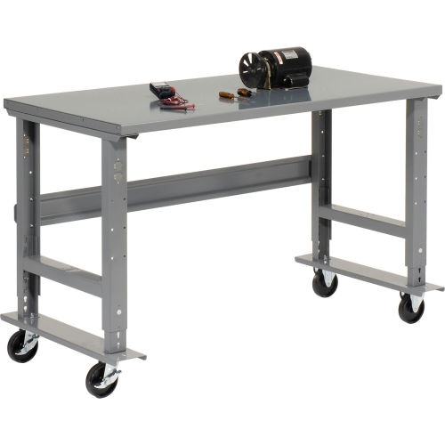 Amazing Mobile Work Bench Adjustable Height 72Quotw X 36Quot Gmtry Best Dining Table And Chair Ideas Images Gmtryco