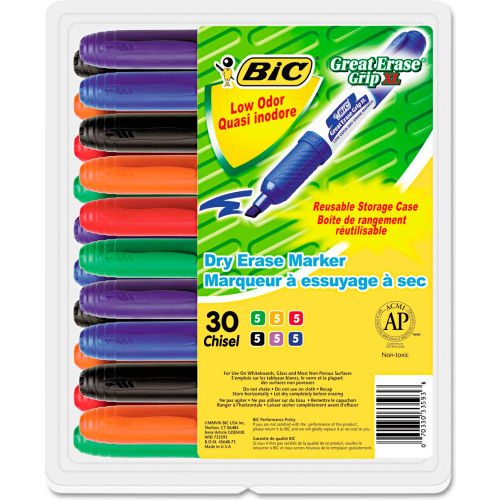Bic Great Erase Grip Dry Erase Markers, Chisel Tip, Assorted, 30/Pack by
