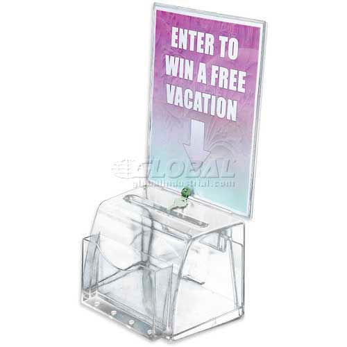 "Azar Displays 206009 Medium Molded Suggestion Box W/ Pocket, Lock & Key, 7.75"" x 6"", Acrylic by"