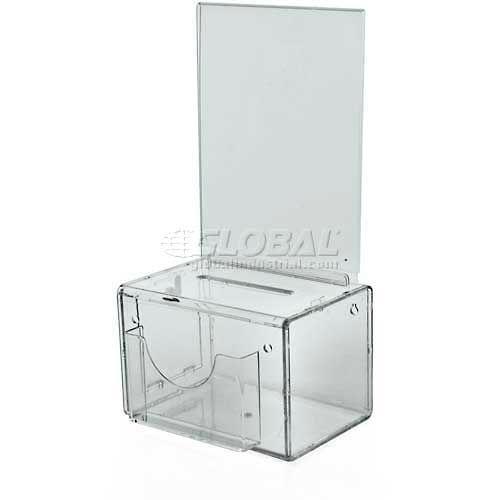 "Azar Displays 206388 Small Suggestion Box W/ Pocket, Lock & Keys, Clear, 5.5"" x 3.5"" ,1 Piece by"