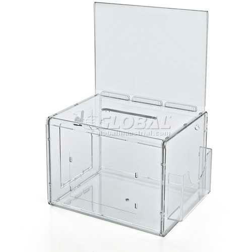 """Azar Displays 206389 Large Suggestion Box W/ Pocket, Lock & Keys, Clear, 7.75"""" x 6"""" ,1 Piece by"""
