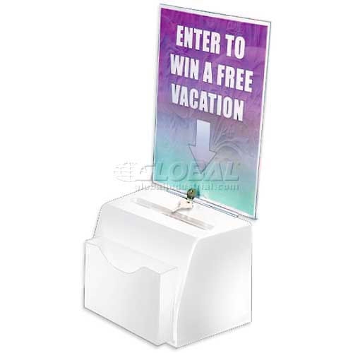 "Azar Displays 206776 Small Molded Suggestion Box W/ Pocket Lock & Key, White, 5.5"" x 3.5"", Acrylic by"