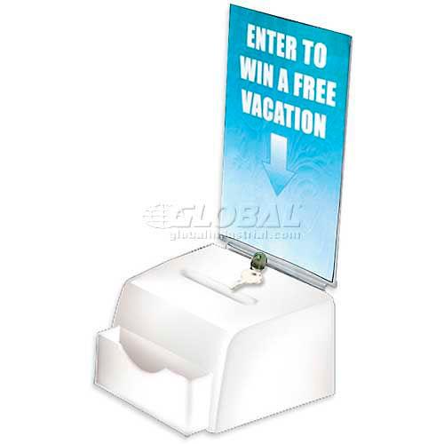 "Azar Displays 206777 Large Molded Suggestion Box W/ Pocket Lock & Key, White, 7.75"" x 6"", Acrylic by"
