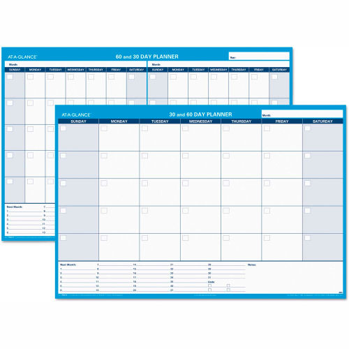 AT-A-GLANCE 30/60-Day Undated Horizontal Erasable Wall Planner, 48 x 32, White/Blue, PM33328 by