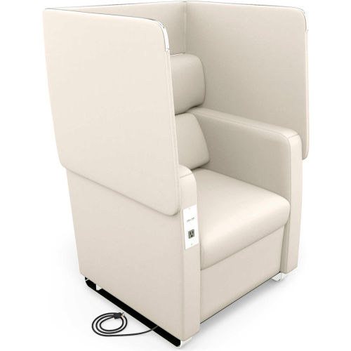 OFM Morph Series Privacy Chair with Flip-Up Privacy Panels & AC/USB Anti-Microbial Vinyl, Linen by