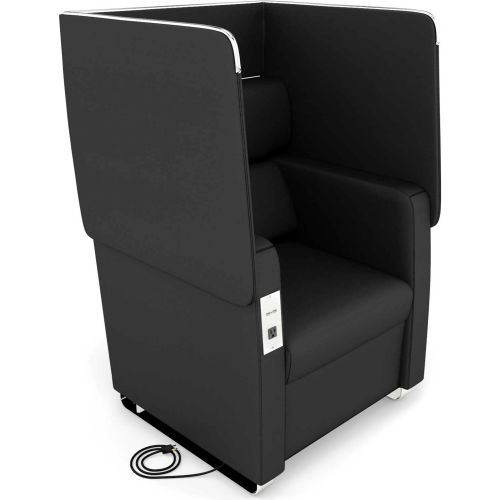 OFM Morph Series Privacy Chair with Flip-Up Privacy Panels & AC/USB Anti-Microbial Vinyl, Midnight by