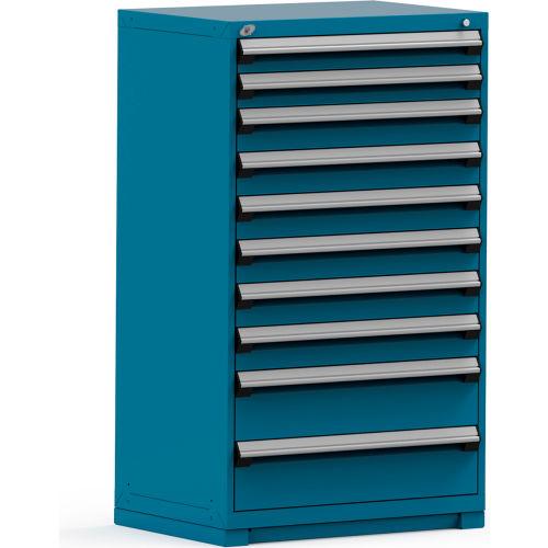 Cabinets | Modular Drawer | Rousseau Modular Storage Drawer Cabinet  36x24x60, 10 Drawers (3 Sizes) W/o Divider, W/Lock, Blue | 237239BL    GlobalIndustrial. ...