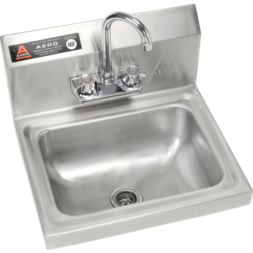 """Aero Wall Mount Stainless Steel Hand Sink 14""""Lx10""""Wx5""""D Basin w/7""""... by"""