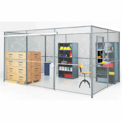 Wire Mesh Partition Security Room 30x20x8 without Roof 4 Sides w/ Window by