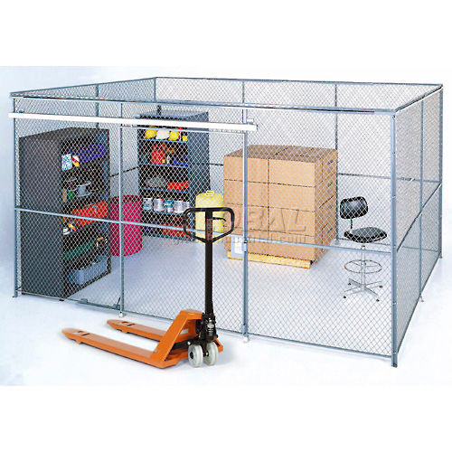 Wire Mesh Partition Security Room 30x20x8 with Roof 4 Sides by
