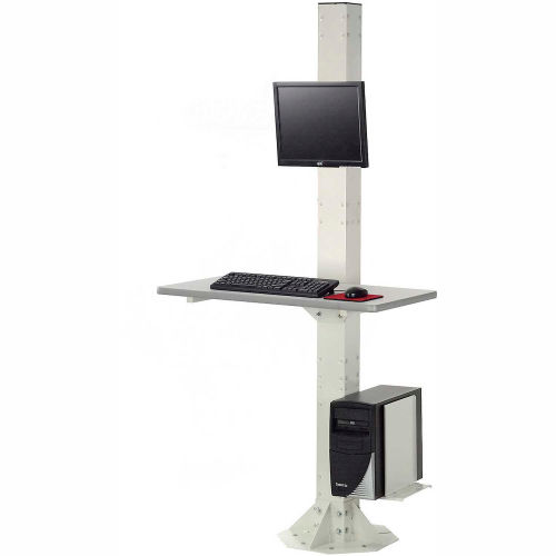 "81""H Stationary Floor Mount Orbit Computer Station with VESA Mount, Beige by"