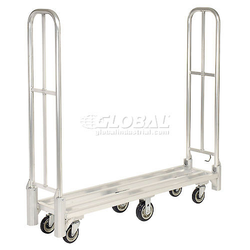 New Age 96856 Aluminum Deck Narrow Aisle High End U-Boat Platform Truck with Folding Handles by
