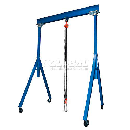 Vestil Steel Gantry Crane AHS-6-15-12 Adjustable Height 6000 Lb. Capacity by