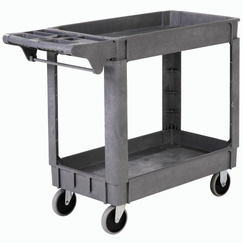 Global Industrial Deluxe Tray Top Plastic Utility Cart 2 Shelf 40 Lx17 W 5 Casters Gray 242080 Globalindustrial Com