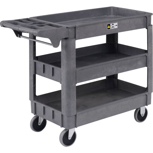 Global Industrial Deluxe Tray Top Plastic Utility Cart 3 Shelf 40 Lx17 W 5 Casters Gray 242083 Globalindustrial Com