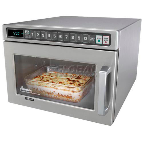 Amana HDC12A2 Commercial Microwave, 0.6 Cu. Ft., 1200 Watts, Push Buttons, Stainless... by